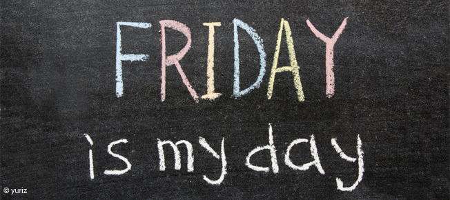 Friday is my day phrase handwritten on the school blackboard